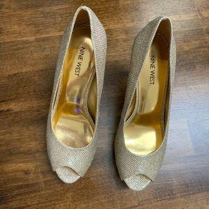 Nine West Shoes - Nine West gold peep toe pumps